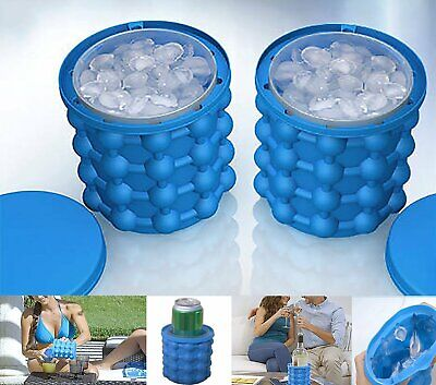 Ice Cube Maker Genie Moulds Bucket  Space Saving Tool with Lid for Home Party