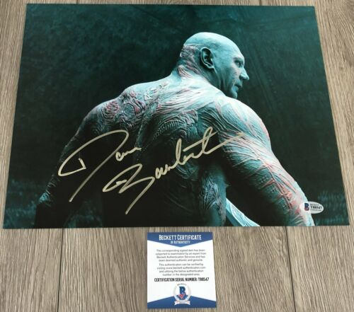 DAVE BAUTISTA SIGNED GUARDIANS OF THE GALAXY 11x14 PHOTO w/PROOF BECKETT BAS COA