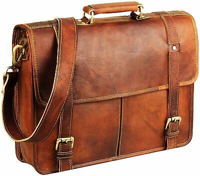 Vintage Men's Brown Handmade Leather Briefcase Best Laptop Messenger Bag