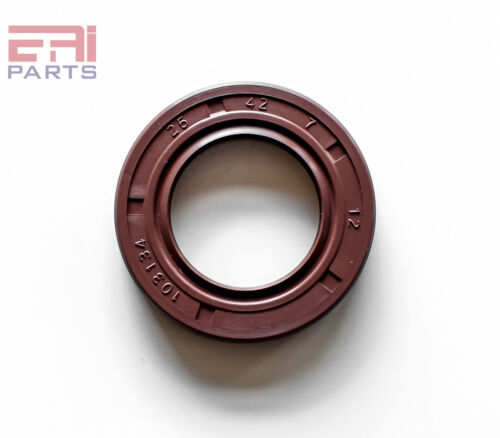 EAI Viton Oil Shaft Seal 25x42x7mm Grease Dbl Lip w/ Stainless Steel Spring