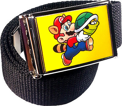 uit Belt Buckle Bottle Opener Adjustable Web Belt (Mario Racoon)