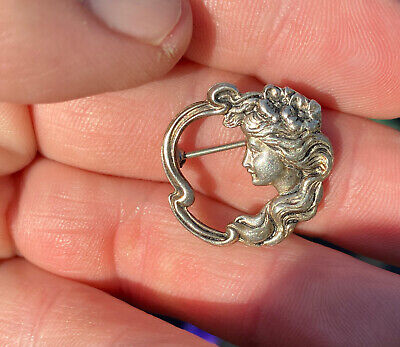 Vintage Sterling Silver Art Nouveau Womans Face Collectilbe Pin Brooch Jewelry