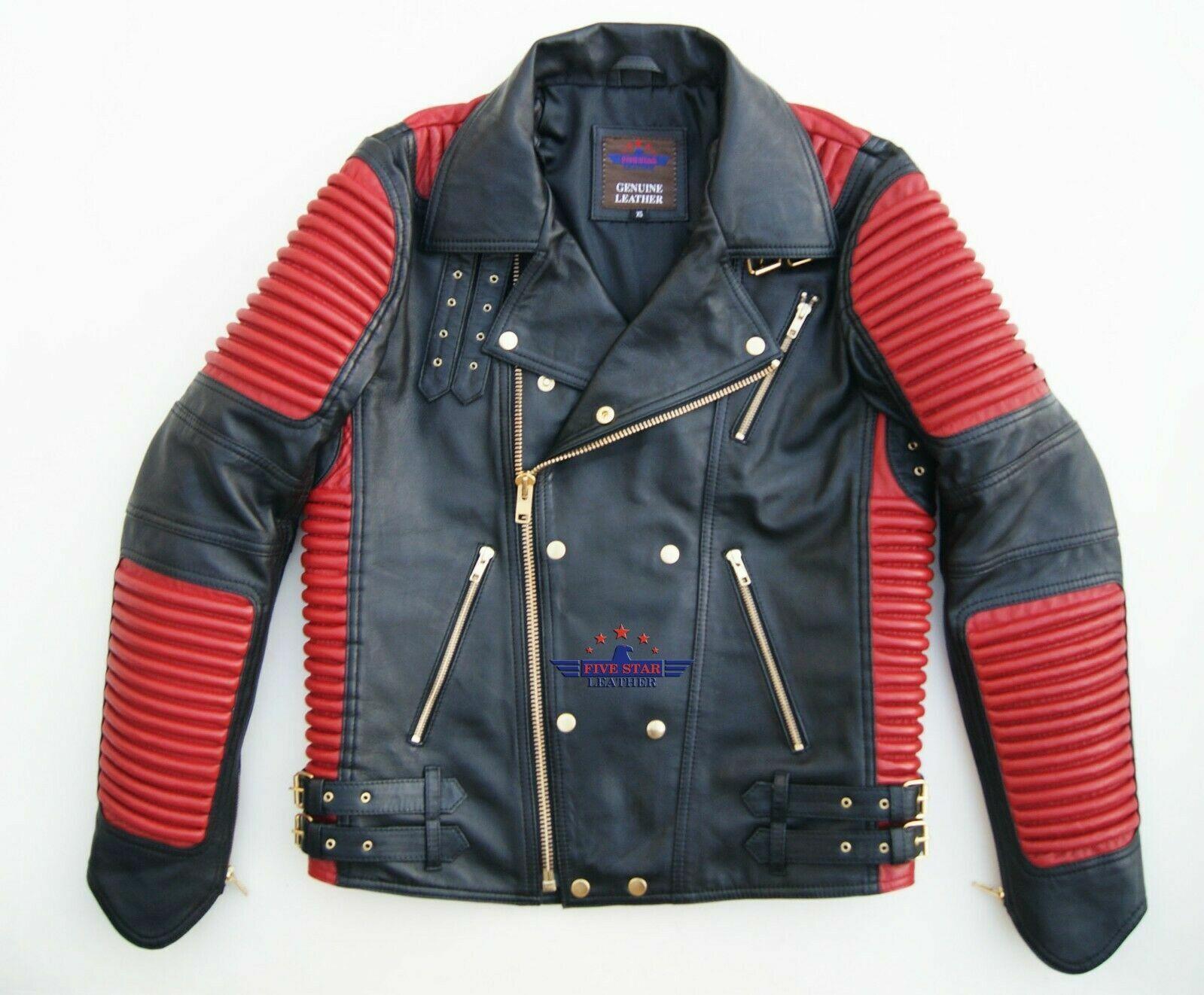 God Gift Men's Black and Red Motor Biker Real Leather Jacket