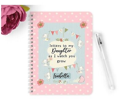 Personalised Notebook A5 Vintage Letters to my daughter watch you grow Gift Baby