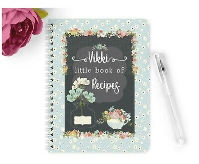 Personalised Notebook Notepad A5 Vintage Recipe Book Nan Mum Friend Gift Cakes
