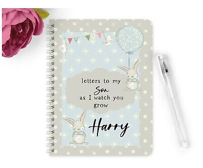 Personalised Notebook A5 Vintage Letters to my Son watch you grow Gift Baby