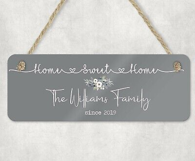 Personalised Wooden Wall Plaque/Sign Home Sweet Home Family Gift.. Modern Font