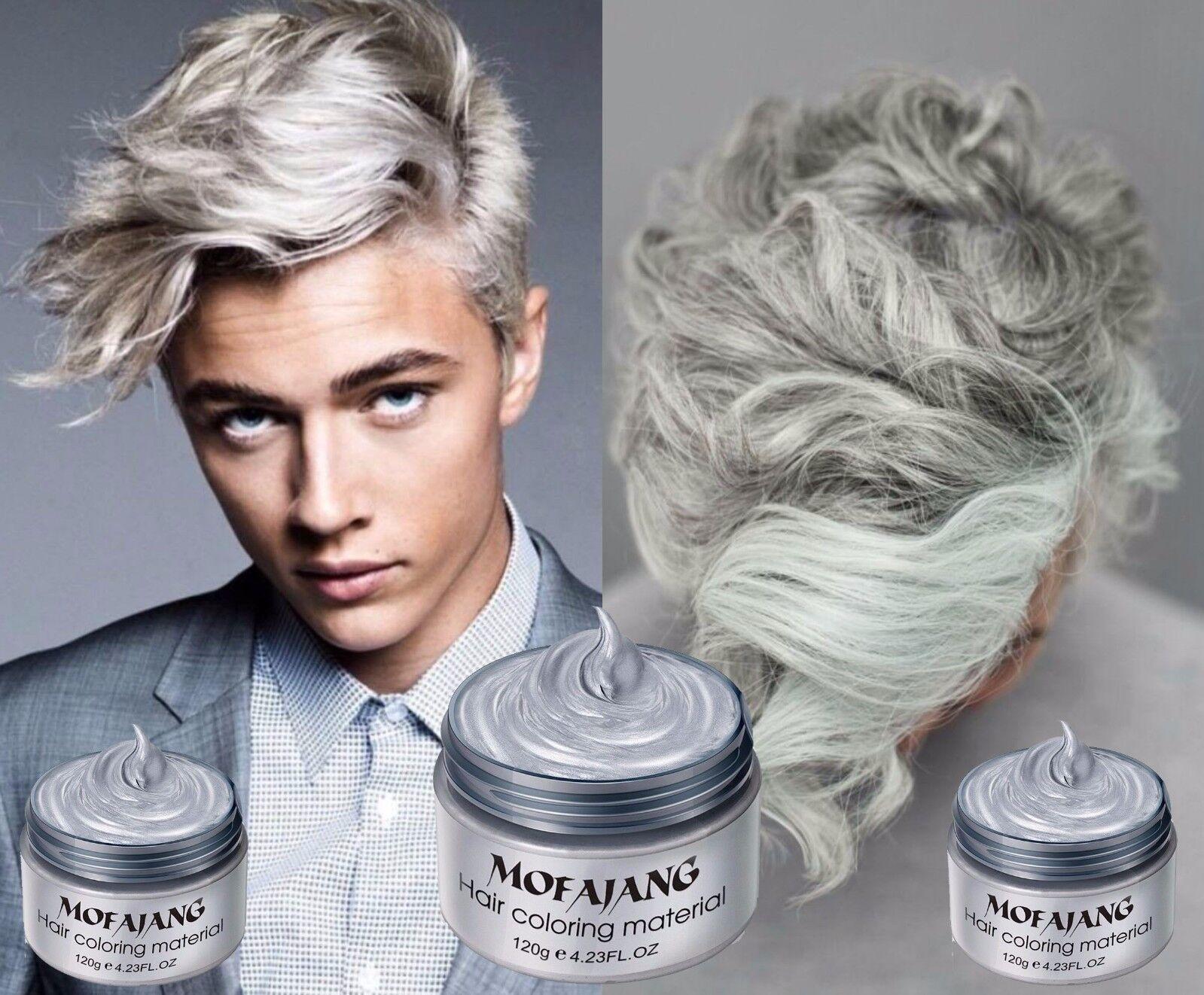 Grau Asche Silber Haarfarbe Wachs DYE Einmal Styling Färbung Männer Frauen Mud