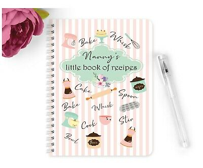 Personalised Notebook Notepad A5 Little Book of Recipes Gift Vintage Nanny Mum