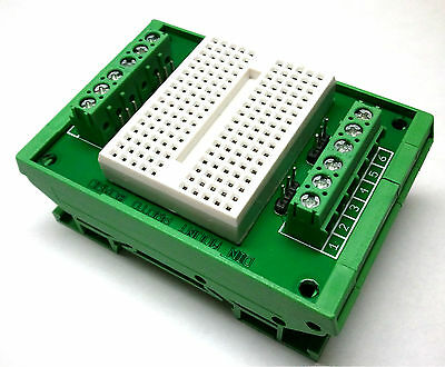Industrial DIN Rail Mount Circuit Prototype Breadboard w/ 12 Screw Terminal I/O on Rummage