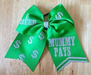 'I Cheer Mummy Pays' Girls Hair Bow Cheer Dance Cheerleading