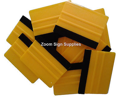 20 X Pro Felt Edge Yellow Squeegees Vinyl Decal Wrapping Application Tool