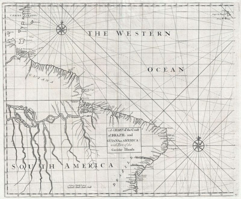 1728 Senex and Halley Map of Brazil