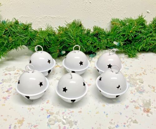 SIX WHITE LARGE CHRISTMAS JINGLE BELLS WITH STAR CUTOUTS
