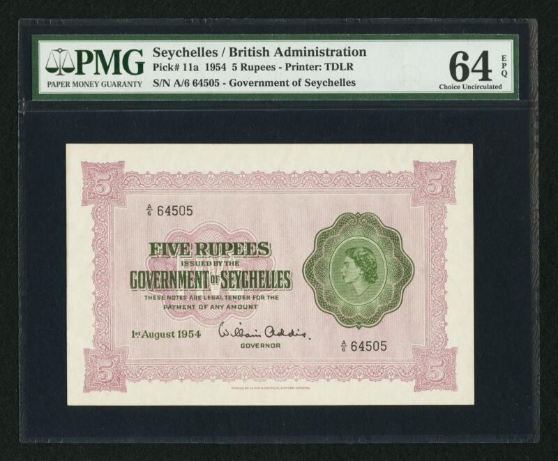 Seychelles Government 5 Rupees 1.8.1954 Pick 11a PMG 64 Choice UNC EPQ