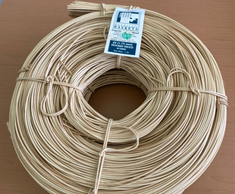 Lot of 2, Round Reed #2 1.75mm 2 lbs. Basket Weaving NEW