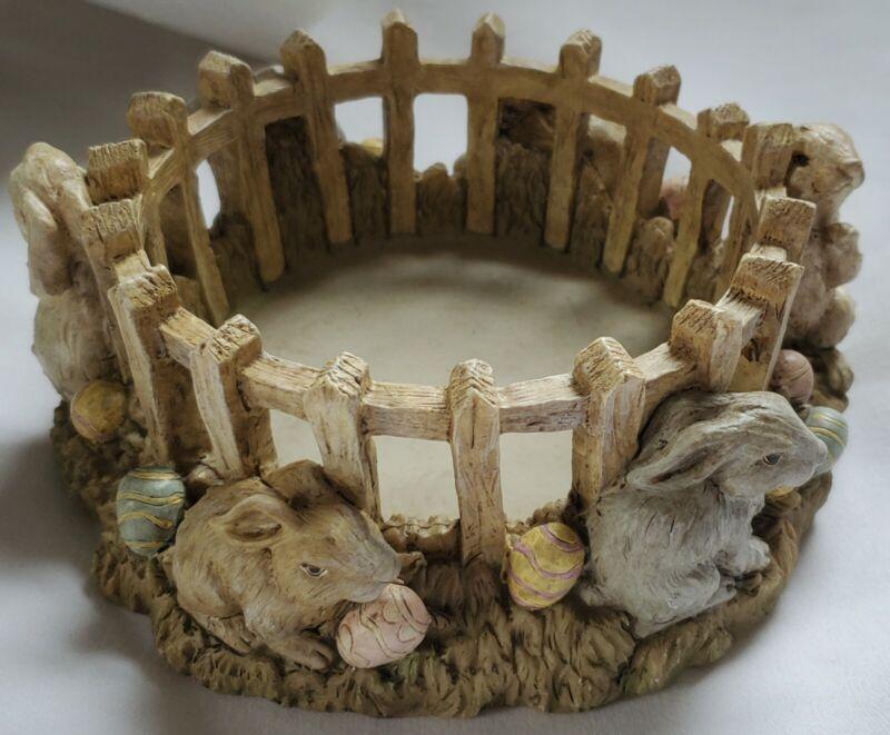Gold Canyon Easter Bunnies Candle Hugger Holder Base 80401 Rabbits Dish plate