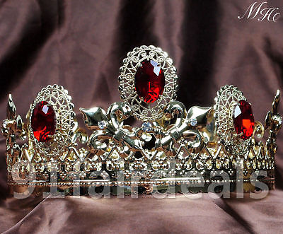 Men Imperial Medieval King Crown Crystal Silver /Gold Plated Prom Party - Gold King Crown