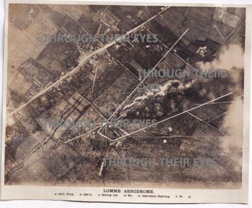 Original WW1 RAF bombing Aerial photo Lomme Aerodrome Belgium 1918 103 SQD WWI