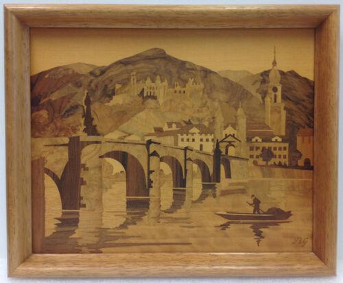 Buchschmid & Gretaux BG Wood Inlay Work Heidelberg Castle Vtg Marquetry Germany