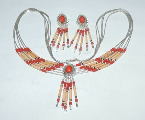 Set Sterling 925 Southwestern Coral & Quill Necklace 18 Inches & Earrings 2.25