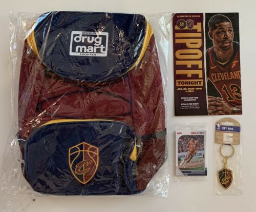 Cleveland Cavaliers Backpack, Key Chain, Panini Card Set & T