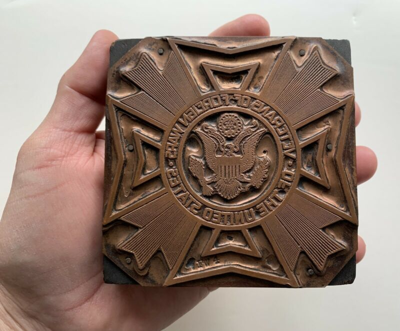 """Vintage Veterans Of Foreign Wars The United States 4"""" Copper Printer"""