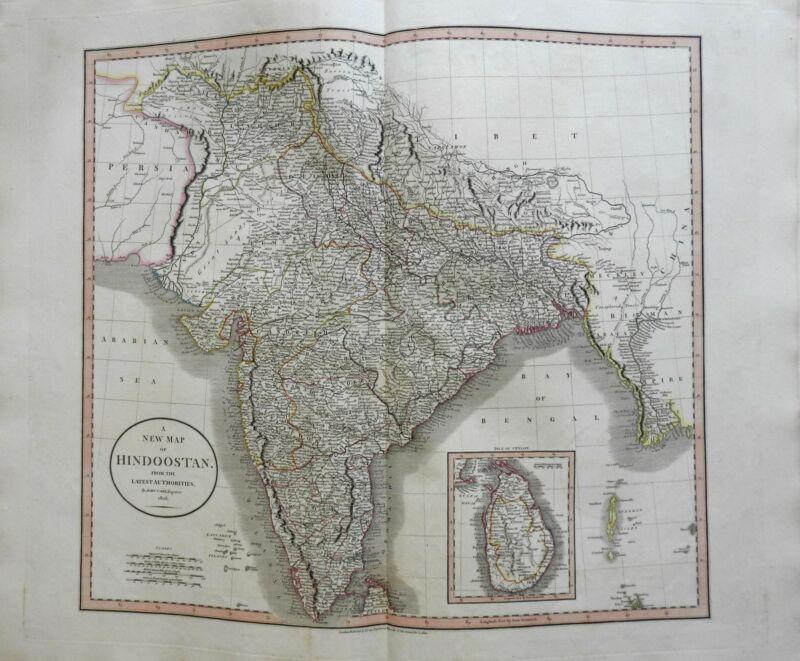 India Sri Lanka Ceylon Hindoostan Bengal Punjab Mysore 1806 Cary folio map
