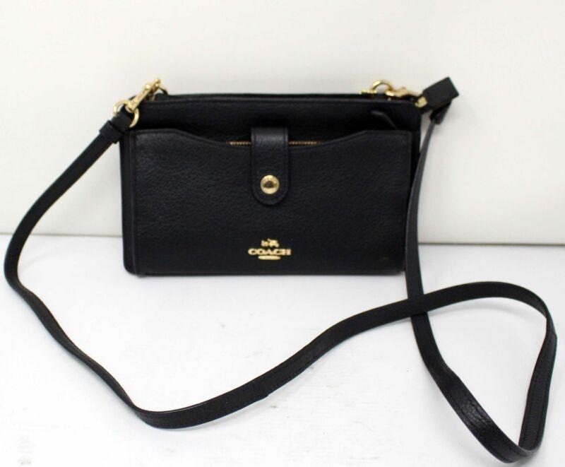 Coach Noa Pop-Up Messenger Pebbled Leather Shoulder Bag LI/Black