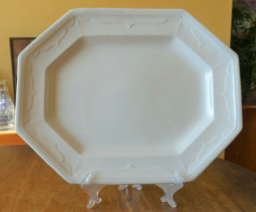 Rare Antique White Ironstone Platter Mississippi Shape Pearson Staffordshire 16""
