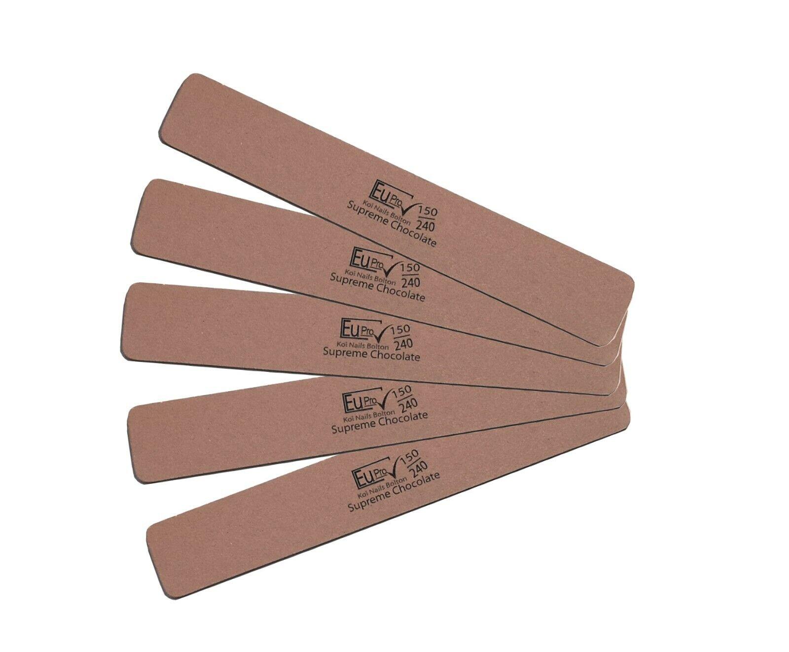5x German Supreme Chocolate Salon Nail File 150 / 240 Grit  Files