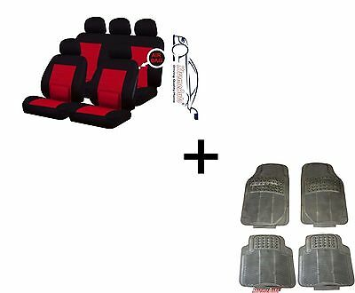 CAMDEN RED LUMBAR UNIVERSAL CAR SEAT COVERS PROTECTORS  MATCHING RUBBER MATS
