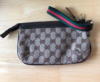 Gucci GG Canvas Purse/Wristlet /Baguette With Web Strap,Vintage EUC