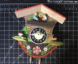 Vtg Engstler Mini Cuckoo Clock Germany Swinging Girl Mushroom German Red
