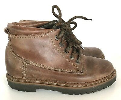 Vintage 90's White Mountain Connors Brown Leather Ankle Boots Chunky 6M Lace Up