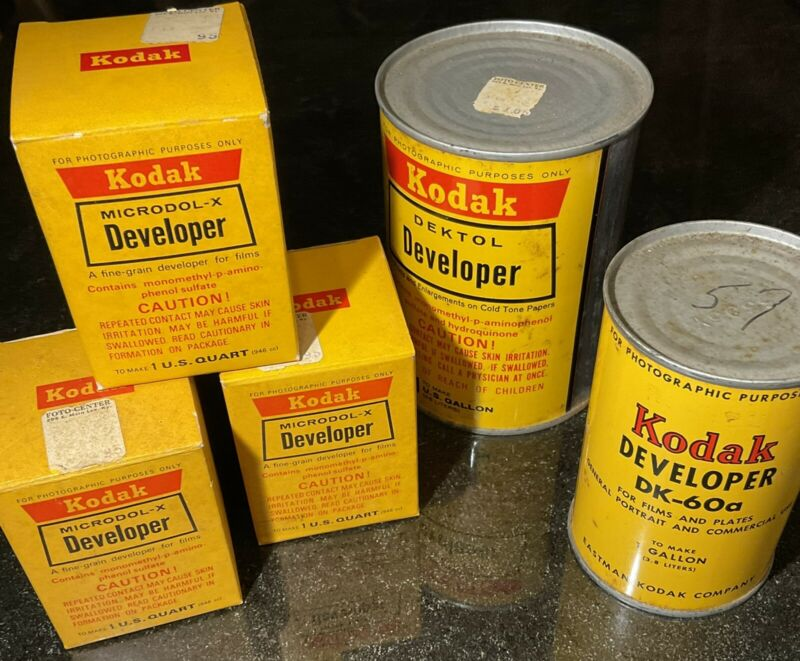 Lot of 5 VINTAGE UNOPENED KODAK DEVELOPER TINS Dektol Microdol-X DK-60A Photo