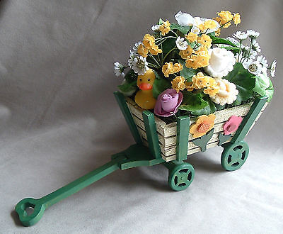 Baby Girl Sock Bouquet Flower Arrangement in Flower Wagon - One of A Kind Gift!