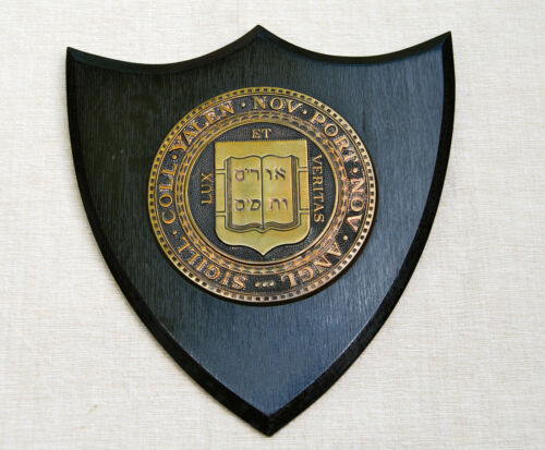 Antique Yale University Bronze Seal and Fumed Oak Shield Shaped Crest circa 1900