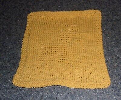 Brand New Hand Knit Cute Corgi Dog Yellow  Dish Cloth For Dog Rescue Charity