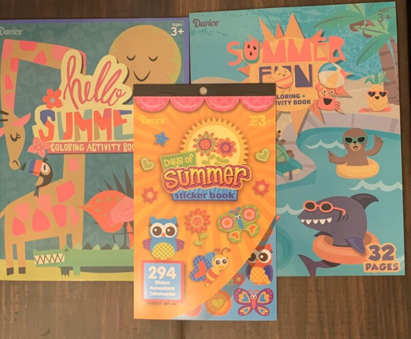 Brand new Lot of Kids summer themed coloring, activity, and sticker books