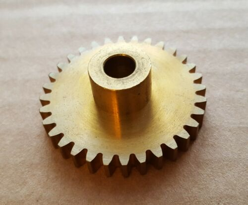 "Spur gear, 32 tooth, 24 pitch, 20º P.A., solid brass, with hub, 1/4"" bore, NEW"