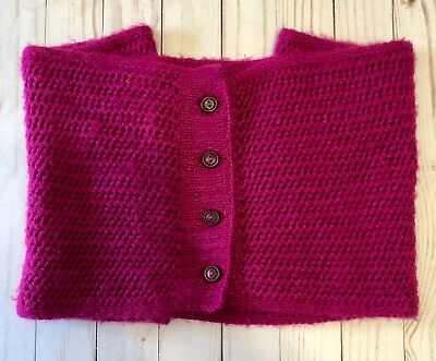 Alpaca Blend Infinity Scarf Fair Trade Peru Fuchsia Buttons Hand Knit Andes Gift