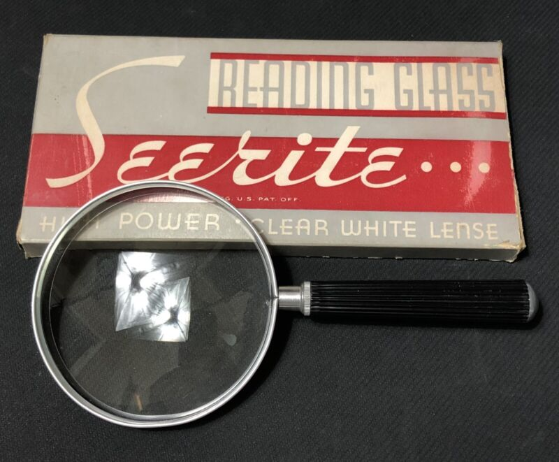 """Vintage Seerite 4"""" Reading Glass Magnifying Glass High Power With Original Box"""