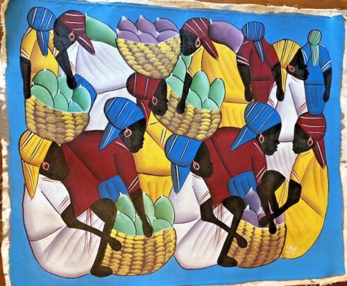 BRIGHTLY PAINTED WOMEN IN A MARKET PLACE FOLK ART PAINTING ON CANVAS