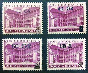 POLAND STAMPS MNH Fi826-9 Sc733-76 Mi970-73 - Renaissance overprint,1956, SLANIA - <span itemprop=availableAtOrFrom>Reda, Polska</span> - POLAND STAMPS MNH Fi826-9 Sc733-76 Mi970-73 - Renaissance overprint,1956, SLANIA - Reda, Polska
