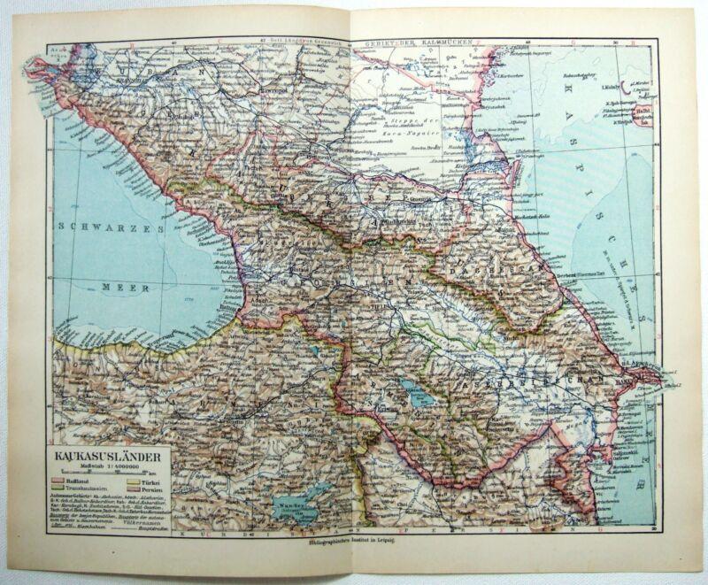 Original 1924 German Map of The Caucasus - Georgia Armenia & Azerbaijan