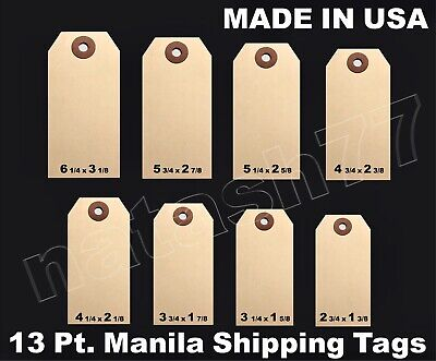 100 Manila 13 Pt. Inventory Shipping Hang Label Price Tags Size 12345678