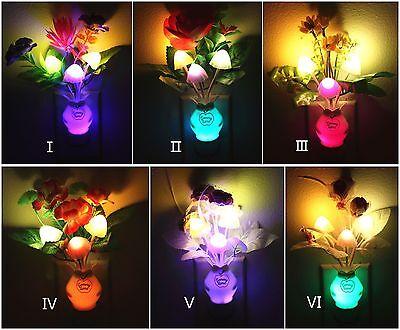 3 Pack LED Night light Color Changing Mushroom & Flower Plug In Wall Lights