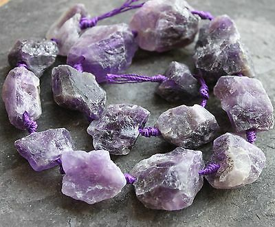 "Amethyst raw / rough gemstone nugget beads. 18-35mm Full 15.5"" strand. SP160"