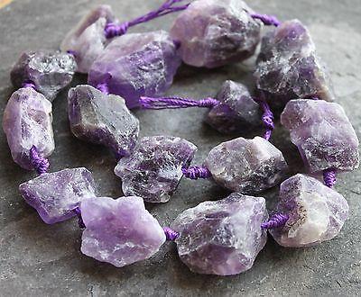"""Amethyst raw / rough gemstone nugget beads. 18-30mm Full 15.5"""" strand. SP160"""